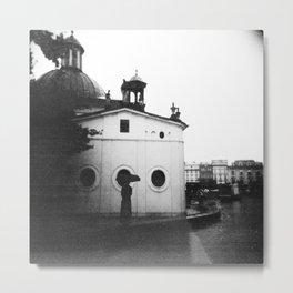 Rain in Krakow, Poland - Holga Black and White Metal Print