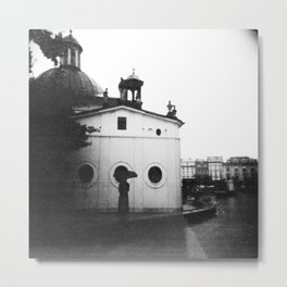 Rain in Krakow, Poland - Holga Black and White Metal Print