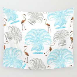 Vintage blue gray orange flamingo peacock drawing Wall Tapestry