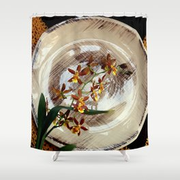 A Brushstroke Of Orchid Genus Shower Curtain