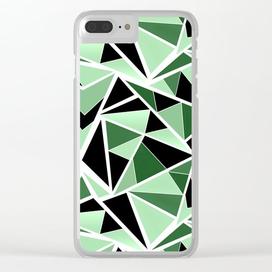 Abstract geometric pattern in black and green tones .Triangles . Clear iPhone Case