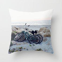 Captiva Island Bikes by Ocean Throw Pillow