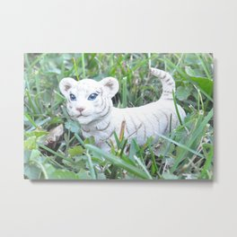 White Tiget Metal Print