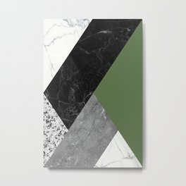 Black and white marbles and pantone kale color Metal Print