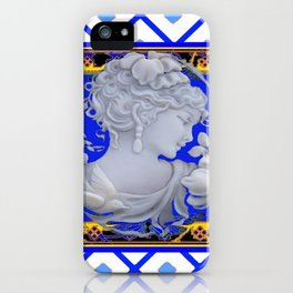 Blue Vintage Girls Cameo Portrait art iPhone Case