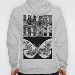 BLACK & WHITE CLOCKWORK BUTTERFLY ABSTRACT ART Hoody