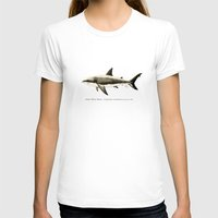 biology T-shirts featuring Carcharodon carcharias II ~ Great White Shark by Amber Marine
