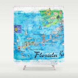 Florida Keys Key West Marathon Key Largo Illustrated Travel Poster Favorite Map Tourist Highlights Shower Curtain