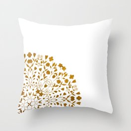 Golden Floral Pattern Throw Pillow