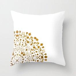Golden Floral Pattern Throw Pillow