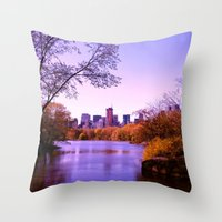 central park Throw Pillows featuring Central Park by Anna Andretta