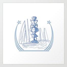 Yacht Club Racing Trophy Cup Drawing Art Print