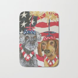 4th of July Celebration Dog Style Bath Mat