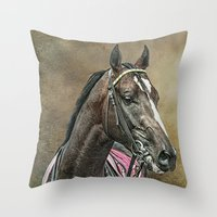 racing Throw Pillows featuring Racing Thoroughbred by tarrby/Brian Tarr