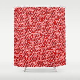Microchip Pattern (Red) Shower Curtain