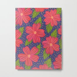 red flowers navy background pattern Metal Print