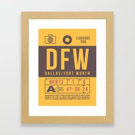 Retro Airline Luggage Tag 2.0 - DFW Dallas Fort Worth Airport USA Framed Art Print