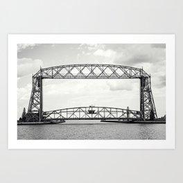 Aerial Lift Bridge-black and white Art Print