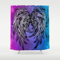 angel wings Shower Curtains featuring Galaxy Angel Wings by Mad Love