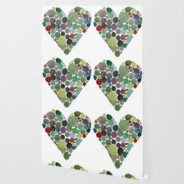 Green dots heart Wallpaper