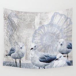 Sea gull ocean mixed media art Wall Tapestry