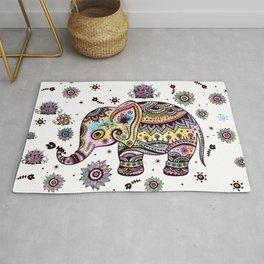 Cute Colorful Elephant Illustration Rug