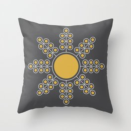 Minimalist Floral Circle, Spicy Mustard, Charcoal Black Throw Pillow