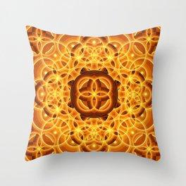 Golden Harmonic Mandala Throw Pillow