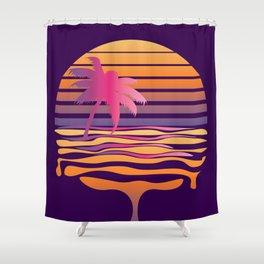 Retro striped sun and palm Shower Curtain