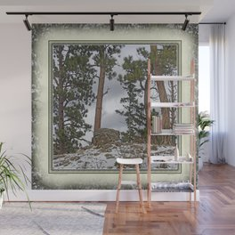 PINES ON ROCKY SNOW Wall Mural