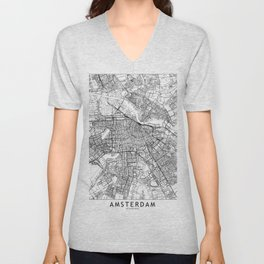 Amsterdam White Map Unisex V-Neck