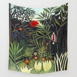 Monkeys and Parrot in the Virgin Forest (1905-1906) by Henri Rousseau Wall Tapestry