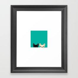 2 French Bulldogs Framed Art Print