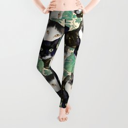 Cute Black and White Cat Portraits and Monstera Leaves Pattern Leggings