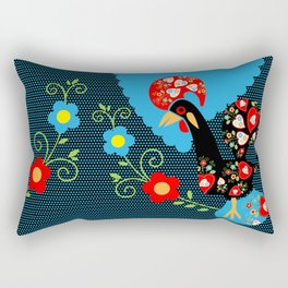 Portuguese Rooster with blue dots on black background  Rectangular Pillow