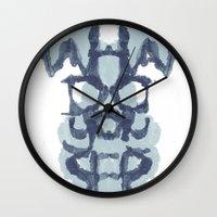psychology Wall Clocks featuring Typography Psychology by David Fleck