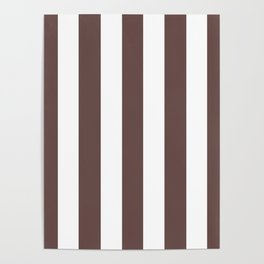 Liver purple - solid color - white vertical lines pattern Poster