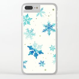 ICY BLUE SNOWFLAKE PATTERN Clear iPhone Case