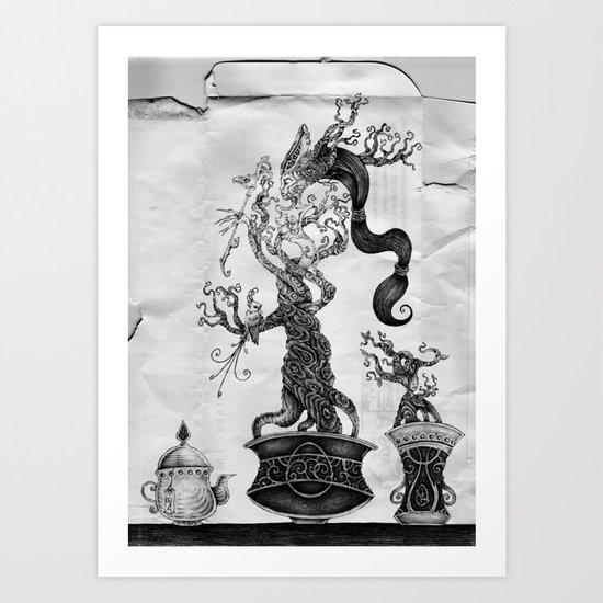 bonsai with texture Art Print