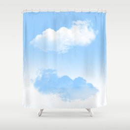 white and blue clouds Shower Curtain