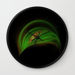 Gold Green Peacock Feather Wall Clock