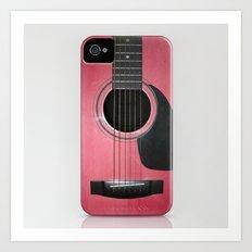 Pink Guitar Art Print