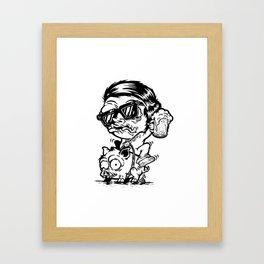 Drunk pig rider Framed Art Print