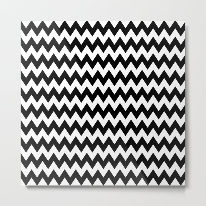 Black White Chevron Metal Print