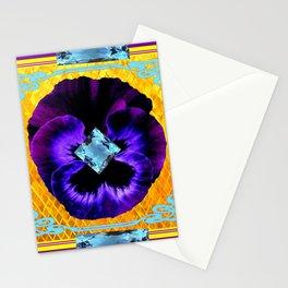 NOUVEAU DESIGN PURPLE PANSY &  AQUAMARINE GEMS Stationery Cards