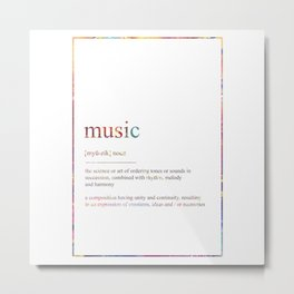 MUSIC 416 Watercolor Map Yoga Quote Definition Des Metal Print