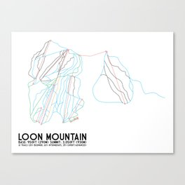 Loon Mountain, NH - Minimalist Trail Art Canvas Print