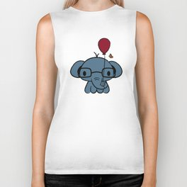 cute elephant with glasses holding a balloon Biker Tank