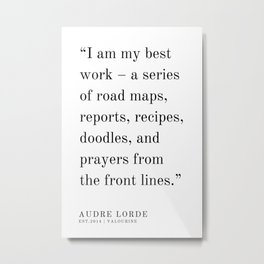 36  | Audre Lorde |Audre Lorde Quotes | 200621 | Black Excellence Metal Print