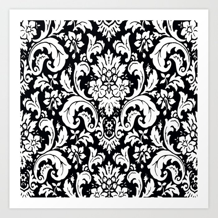 Damask Paisley Black And White Paisley Pattern Vintage Art Print By
